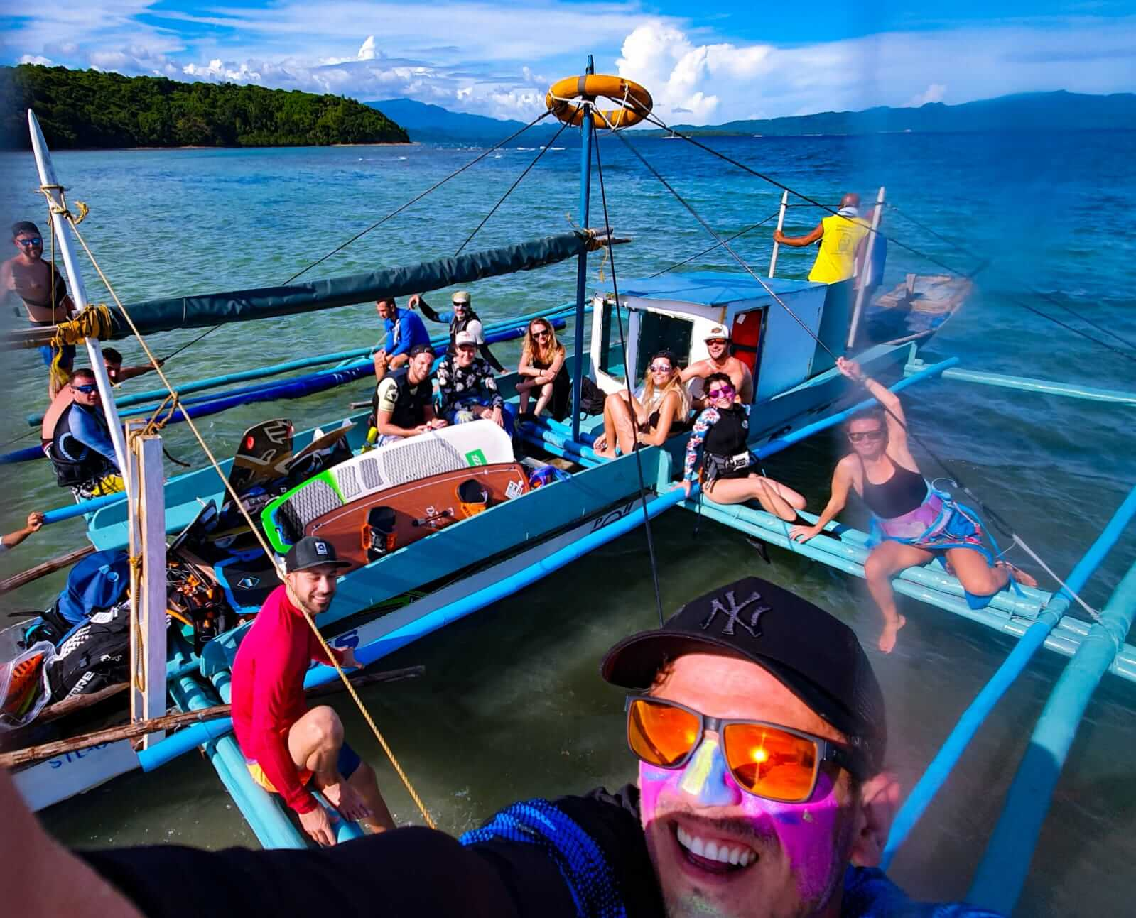 People on a boat in Mindoro Island